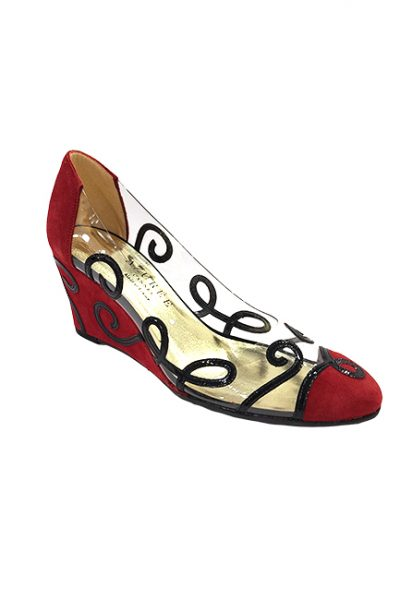 Marilyn French handcrafted Comfortable, Suede and Patent Leather, Clear Wedge Closed Toe 3-inch Heel Shoes