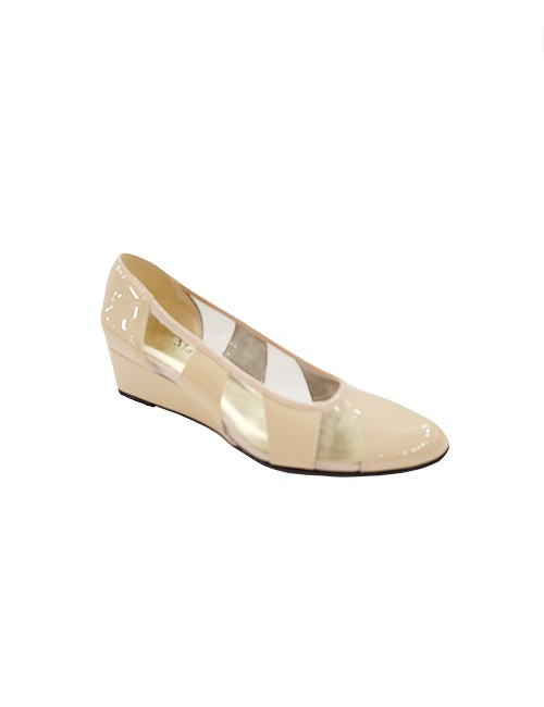 Marilyn French handcrafted Comfortable, Clear and Patent Leather, Wedge Closed Toe 2-inch Heel Shoes