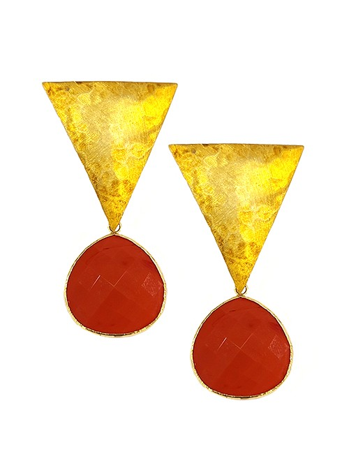 Marilyn Handmade Italian Gold-Plated Hammered Brushed and semi-precious Stones, removable Drop, Pierced Earring