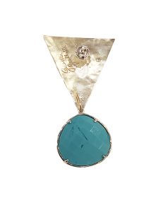 Marilyn Handmade Italian geometric Silver-Plated Hammered Design, and semi-precious Stones, removable Drop, Pierced Earring