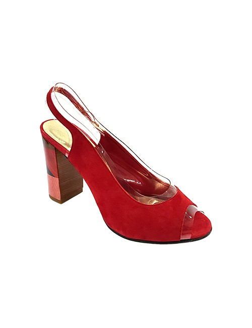 Marilyn French handcrafted Comfortable, Suede Leather and Clear Open Toe, Slingback Style Shoe Geometric Designed 3.5-inch Heel