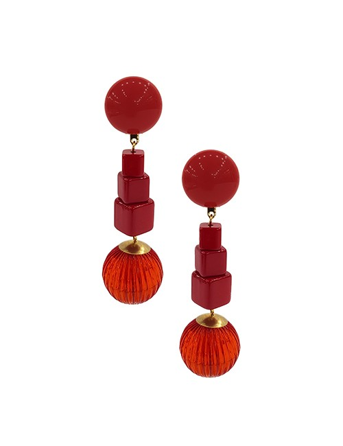 Marilyn French Square Round Hanging Resin Clip Earrings