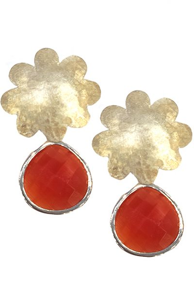 Marilyn Handmade Italian Silver -Plated Hammered Brushed Flower and Red semi-precious Stones, removable Drop, Pierced Earring