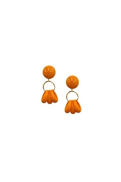 Marilyn French Orange Three Ring Ball Resin Clip Earrings