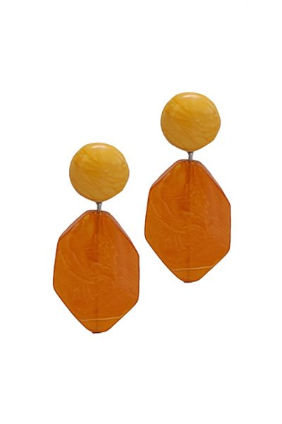 Marilyn French Orange Drop Ribbon Texture Resin Clip Earrings