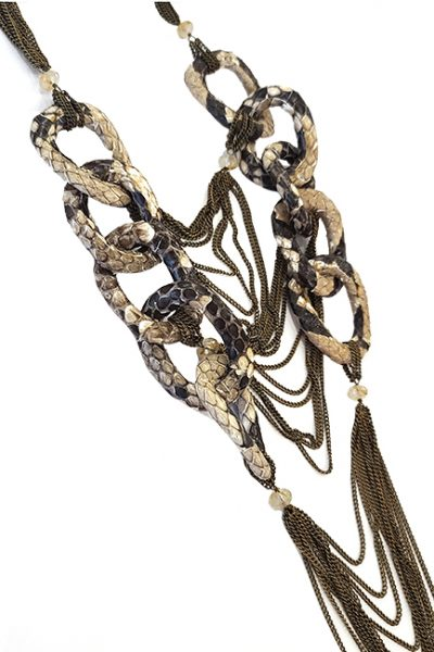 Marilyn Handcrafted Italian Bronze chain, Python, Necklace