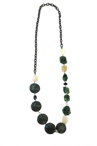 Marilyn Handcrafted Italian Bronze chain, Python, and semi-precious stones Necklace