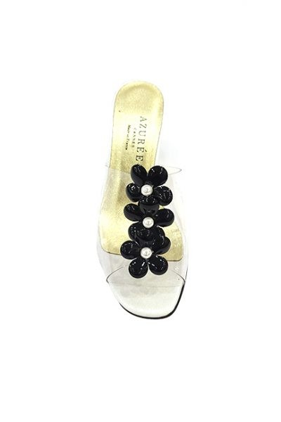 Marilyn French handcrafted Comfortable, Clear and Patent Leather Flowers, Open Toe 2-inch Block Heel Shoes