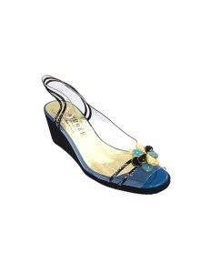 Marilyn French handcrafted Comfortable, Clear Light Weight Wedge open Toe Enamel Flower on Toe 2.5-inch Heel Shoes