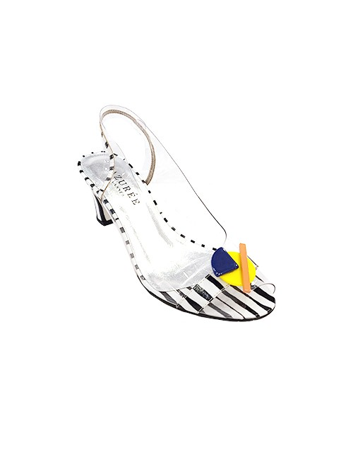 Marilyn French handcrafted Comfortable, Clear and Patent Leather Strip Print, Slingback Open Toe 2.5-inch Heel Shoes