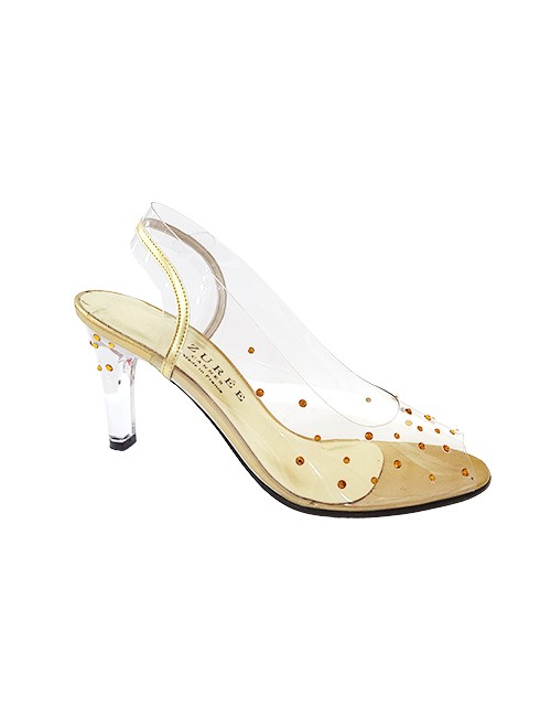 Marilyn French handcrafted Comfortable, Clear with Gold Leather Dusted with Swarovski Crystals Sling back, 3-inch Heel Shoes