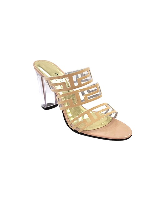 Marilyn French handcrafted Comfortable, Patent Leather and Clear Open Toe, Mule Style Shoe Clear 3.5-inch Heel