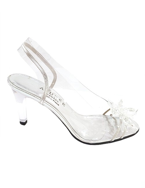 Marilyn French handcrafted Comfortable, Clear with Silver Leather with Swarovski Crystals Flower on Toe Sling back, 3-inch Heel Shoes