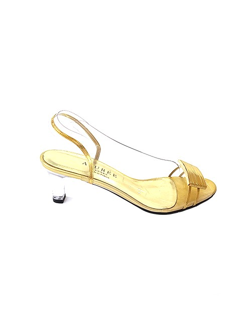 Marilyn French handcrafted Comfortable, Clear with Gold Patent Leather Strip Detail Trim Sling back, 2.5-inch Wedge Heel Shoes