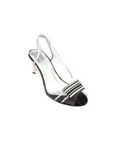 Marilyn French handcrafted Comfortable, Clear White, and Black trim 3-inch Wedge Heel Shoes