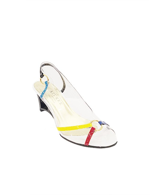 Marilyn French handcrafted Comfortable, Clear with Patent Leather Strip Detail Trim Sling back, 3-inch Wedge Heel Shoes