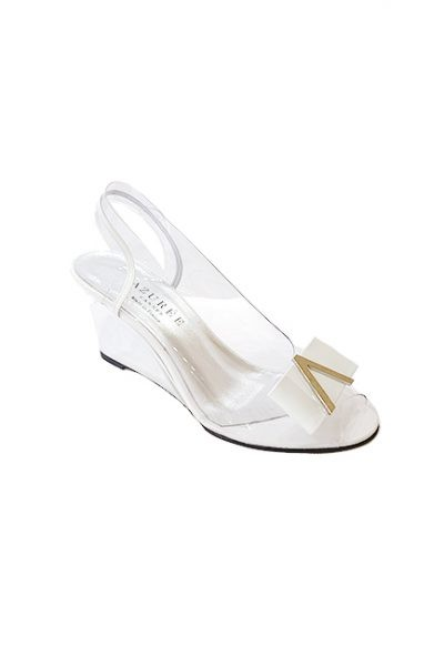 Marilyn French handcrafted Comfortable, Clear, Patent Leather, Sling back, Open Toe, Unique Wedge Shoes, Decorated with Contemporary V at Toe-3.5-inch Wedge