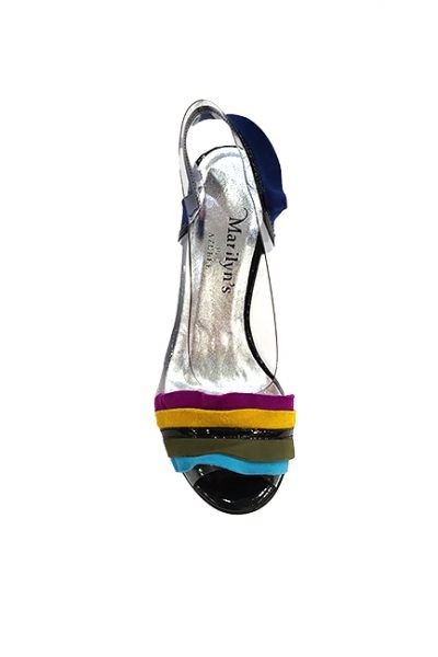 Marilyn French handcrafted Comfortable, Clear, Suede and Patent Leather, Open Toe, Slingback 3.5-inch Heel