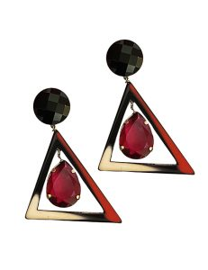 Marilyn Italian Made Contemporary Resin and Crystal Earring Clip Earrings
