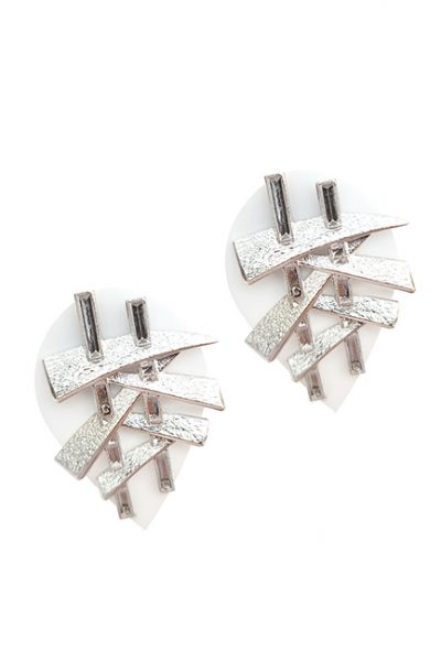 Marilyn Italian Made Resin with Silver Plated Contemporary Design, Clip/ Pierced Earrings