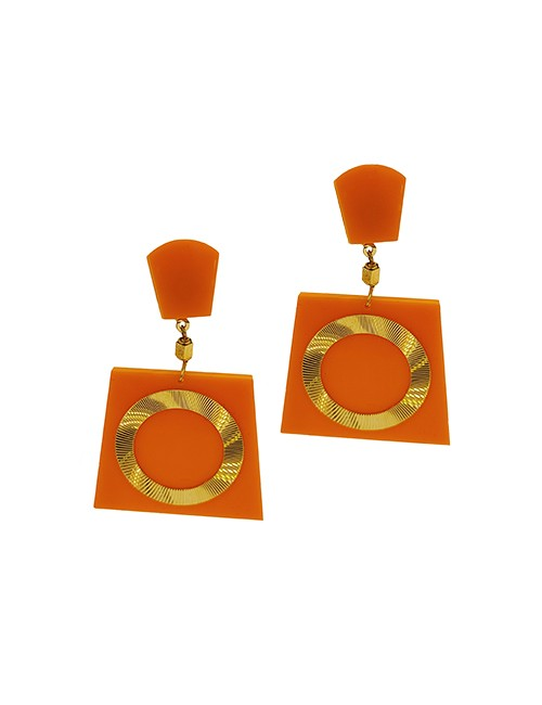 Marilyn Italian Made Gold on Resin Combination of Clip and Pieces Earrings 2 inch long