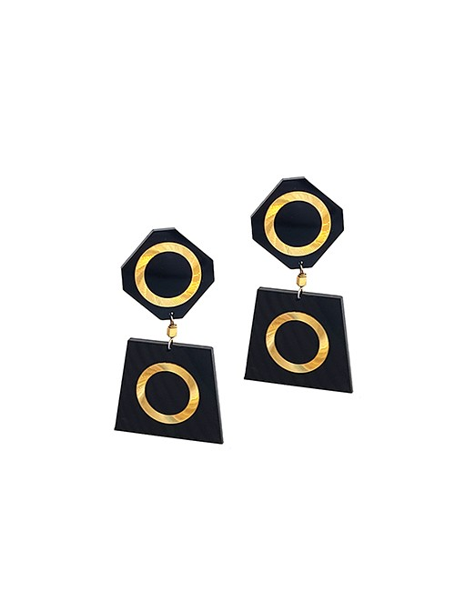 Marilyn Italian Made Gold on Resin Combination of Clip and Pieces Earrings