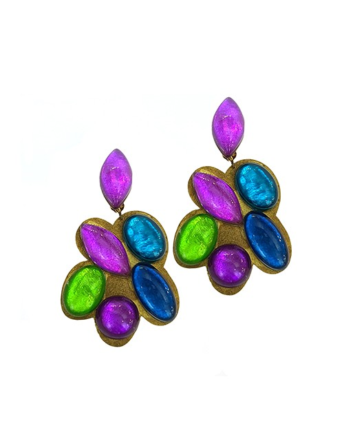 Marilyn Italian Made Colorful Resin, on Gold Background Clip Earrings