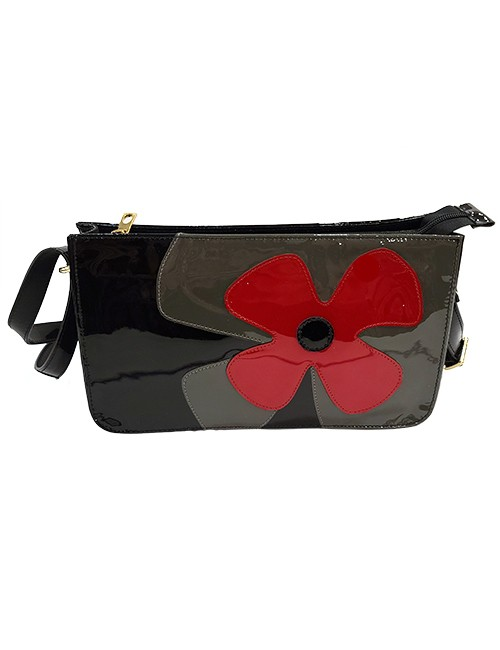 Marilyn French handcrafted Handbag Mix Color Patent Leather, with Flowered overlay, with Cross Body Strap