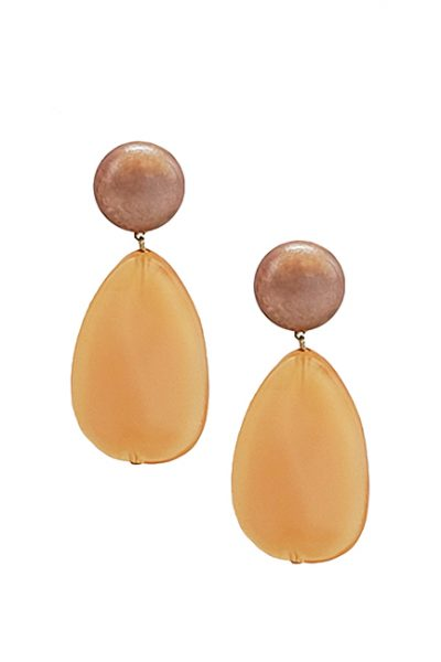 Marilyn French Peach Color Resin Clip Earrings