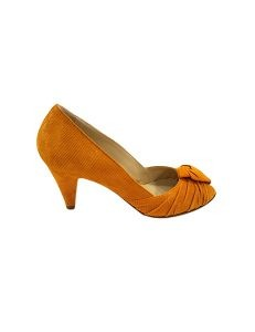 Marilyn, Italian Handmade Suede Textured Leather Pleated at the Toe 3-inch Heel Shoes