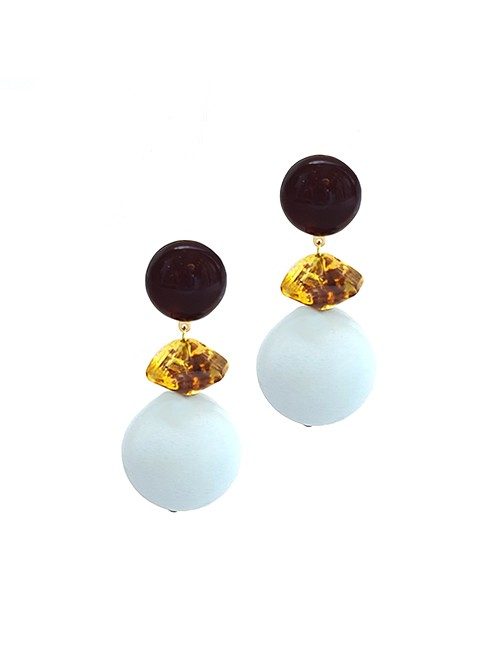 Marilyn French Aqua Mat Ball with Amber Color Resin Clip Earrings