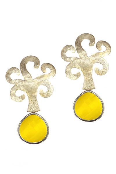Marilyn Handmade Italian Metal-Plated Hammered Brushed Trees, and semi-precious Stones, removable Drop, Pierced Earring
