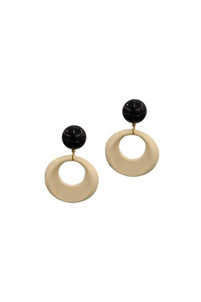 Marilyn French Black and Cream Circle Resin Clip Earrings