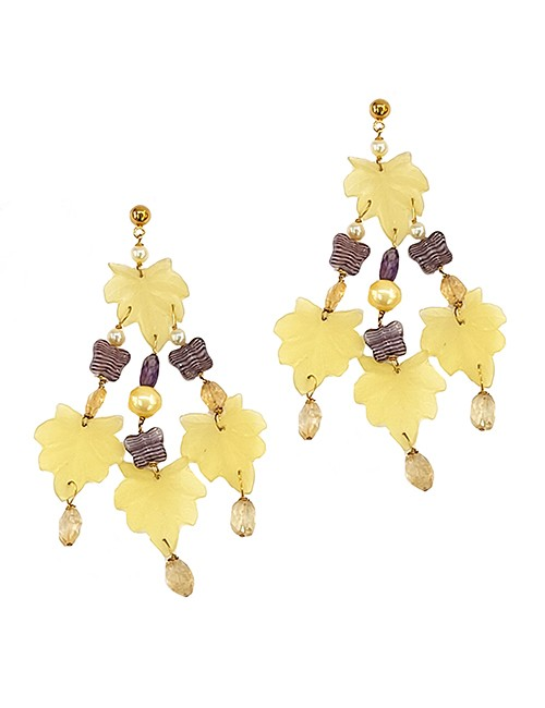 Marilyn Italian Made Long Resin with Crystal Leaf Design, Hanging Pierced Earrings