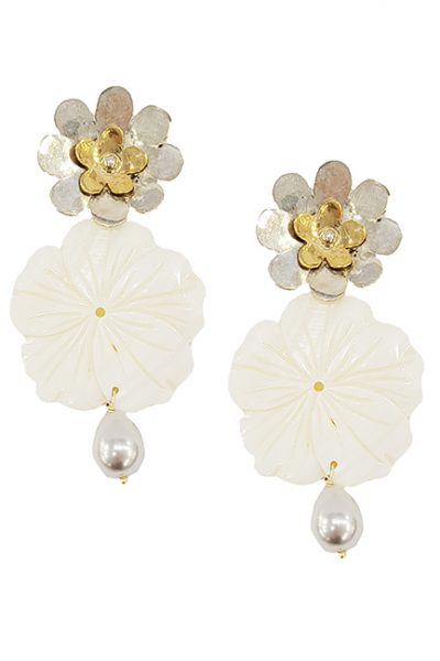 Marilyn Handmade Italian Silver and Gold-Plated, Mother of Pearl Flower, with Pearl Drop, Pierced Earring
