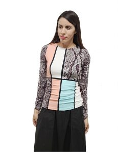 Marilyn Italian made Top, Original Reptile and Geometric Design Round Neck, Very Soft