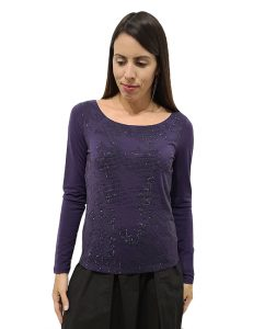 Marilyn Italian made Top, Wool and Stretch, with a tiny Black crystals inlay design on front, Very Soft