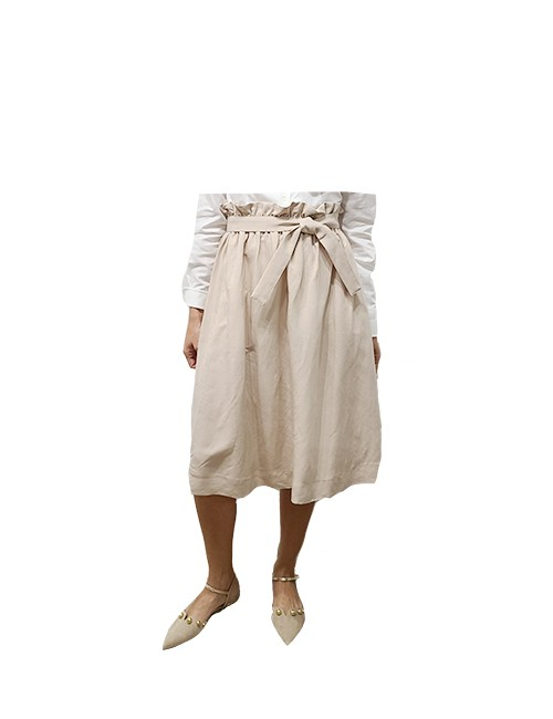 Marilyn Italian Made Viscose and Linen, Skirt with side pockets and unique stretch waist band and attached Tie