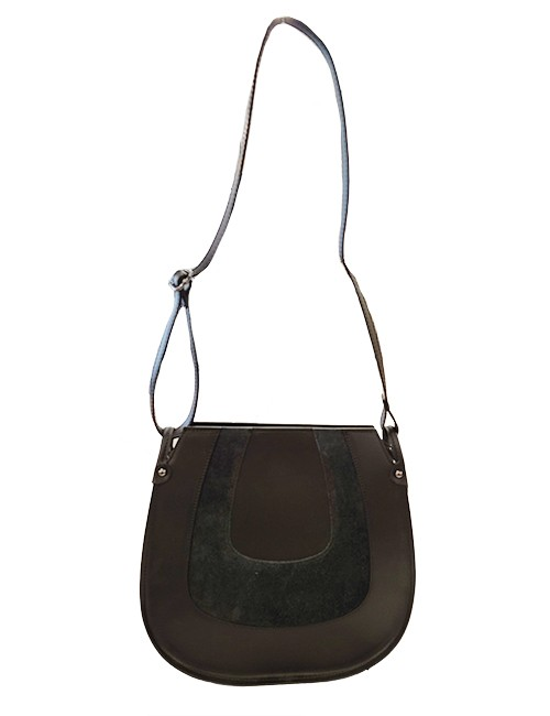 Marilyn Italian Handcrafted Calf Leather and Suede Handbags Zipper Closure at Top, Cross Body Strap outside zipper compartment,