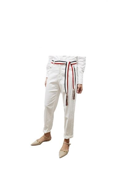 Marilyn Italian Made Linen Cotton stretch, Jean Style with Silk cotton woven Belt