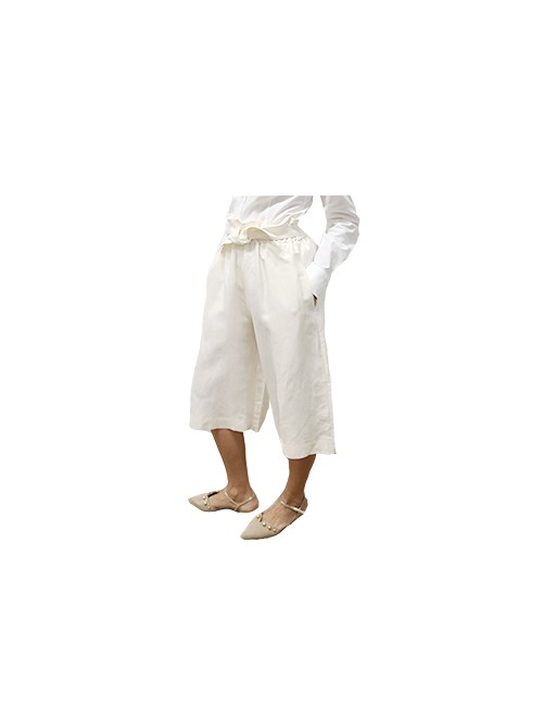Marilyn Italian Made Silk and Linen, Culotte with side pockets and unique stretch waist band and attached Tie