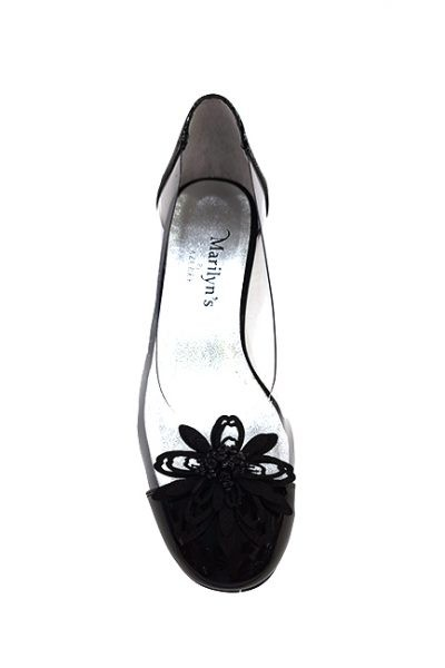 Marilyn French handcrafted Comfortable, Clear, Patent Leather, Flat Shoes, Decorated with Contemporary Flower 1-inch Heel