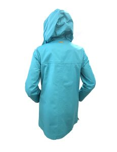 Marilyn French made Hood ¾ Raincoat, Snap fastener over Zipper in front, Side zipper pockets, Side Zippers