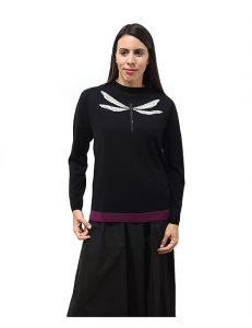Marilyn Italian Knit Top with Contrast Color border around the bottom, and Embroidered Dragan Fly on Front'