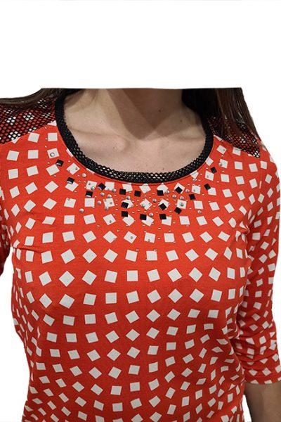 Marilyn Italian Spirited Comfortable Original Print, With Crystal, Silver Beads at Neck'