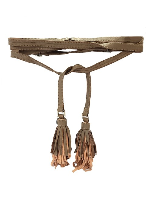 Marilyn Italian handmade Leather Robe belt with Leather Tassels on the ends