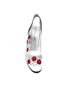 Marilyn French handcrafted Comfortable, Clear and Hand painted Flowers, half inch platform, Slingback Open Toe 2.5-inch wedge Heel Shoes