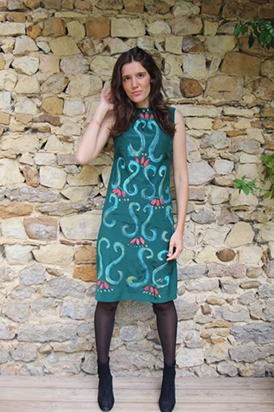 Marilyn France Loup-Maison original Hand painted Silk Arabesque Emerald Print Dress