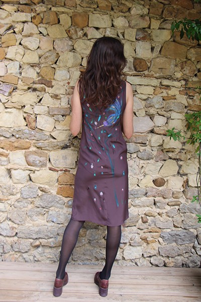 Marilyn France Loup-Maison original Hand painted Silk Birds Chocolate Print, Dress