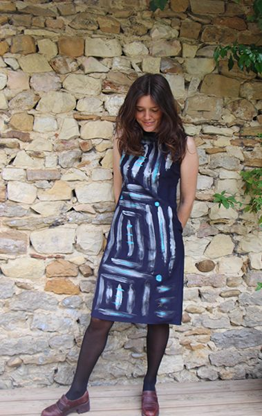 Marilyn France Loup-Maison original Hand painted Silk Labyrinth Navy and Silver Print, Dress